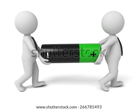 Renewable energy/3d people lift a big battery.  3d image. Isolated white background - stock photo