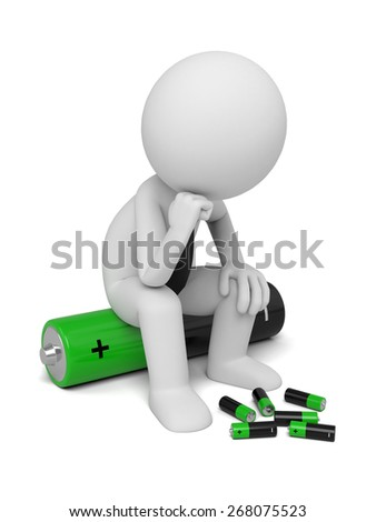 Renewable energy/3d puppet with some batteries.  3d image. Isolated white background - stock photo
