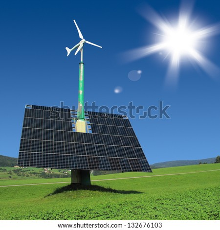 Renewable energy in countryside. Solar panels with wind turbine, ecological power plant. - stock photo