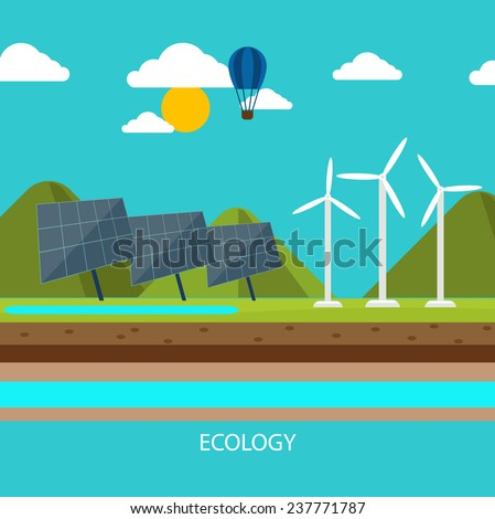 Renewable energy like hydro, solar, geothermal and wind power generation facilities cartoon style. Raster version - stock photo