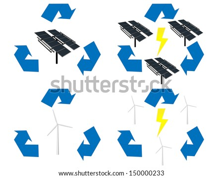 Renewable Energy Signs Icons Wind and Solar Energy - stock photo