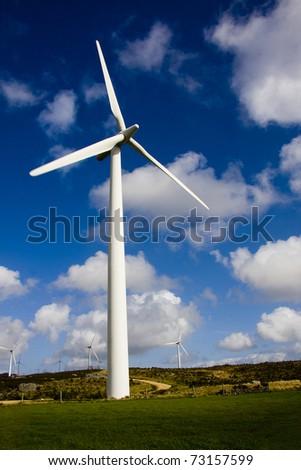renewable energy, wind turbine - stock photo