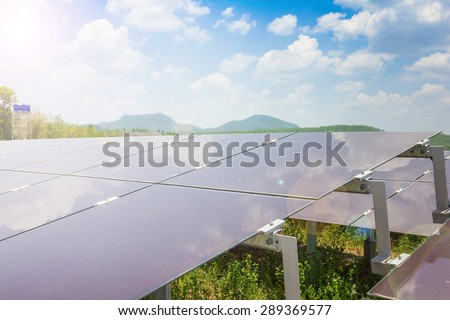 renewable solar energy Power plant : The concept of renewable energy. Clean energy Environmentally friendly The solar farm is a module of Tin film. - stock photo