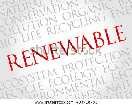 Renewable word cloud, environmental concept - stock photo