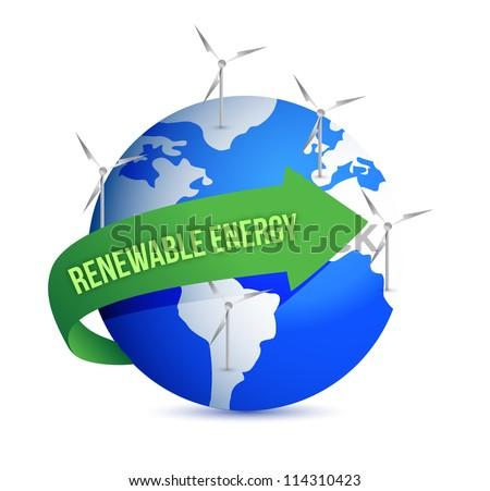 Renewal energy globe concept illustration design over white - stock photo