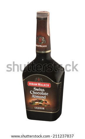 RENO, NEVADA - AUGUST 14, 2014: A bottle of Hiram Walker Swiss Chocolate Almond liqueur.  A sweet, nutty, chocolate liqueur with a smooth almond aftertaste used on ice cream and in mixed drinks. - stock photo