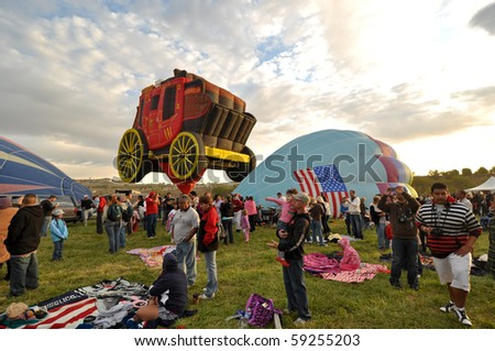 RENO, NEVADA USA - SEPTEMBER 12:  The Great Reno Balloon Race on September 12 2009, in Reno Nevada. It is the largest free hot air ballooning event in the nation. - stock photo