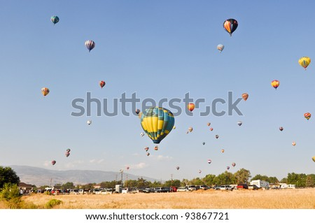 RENO, NEVADA USA - SEPTEMBER 10: The Great Reno Balloon Race on September 10 2011, in Reno Nevada. It is the largest free hot air ballooning event in the nation. - stock photo
