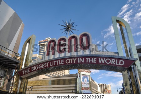 RENO - SEPTEMBER 05 : The Reno entrance sign on September 05, 2011. The original sign was built in 1926 to promote the Nevada Transcontinental Highway Exposition. The sign was last replaced in 1987. - stock photo