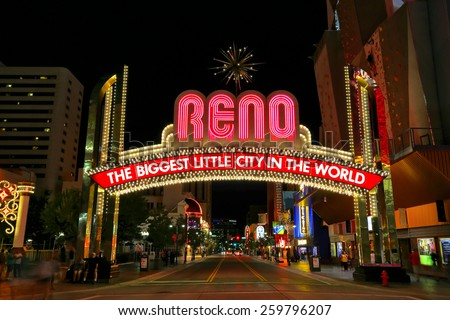 """RENO, USA - AUGUST 12: """"The Biggest Little City in the World"""" sign  over Virginia street at night on August 12, 2014 in Reno, USA.  Reno is the most populous Nevada city outside of the Las Vegas. - stock photo"""