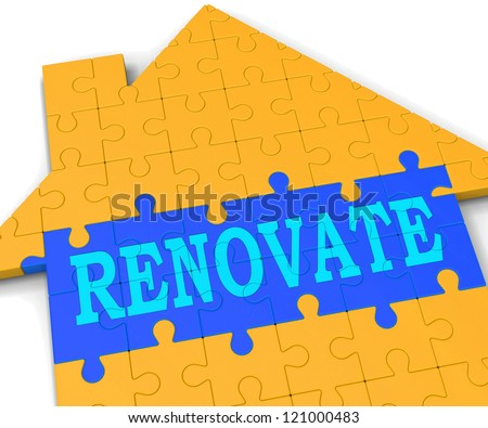 Renovate House Showing Improve And Construct Building - stock photo