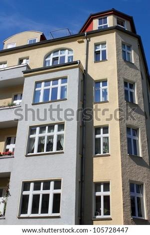 renovated corner house - stock photo