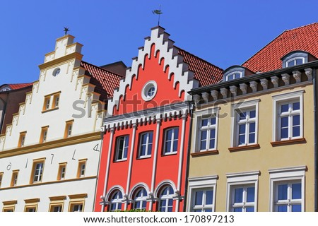 renovated old buildings - stock photo