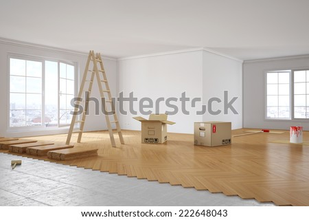 Renovation of a room with laying out parquet and painting walls - stock photo