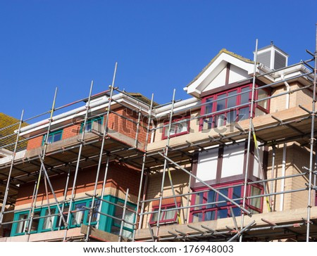 Renovation of Apartments, with scaffolding - stock photo