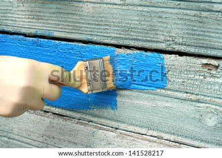 renovation of old house walls - stock photo