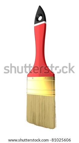 Renovation: red paintbrush isolated over white background - stock photo