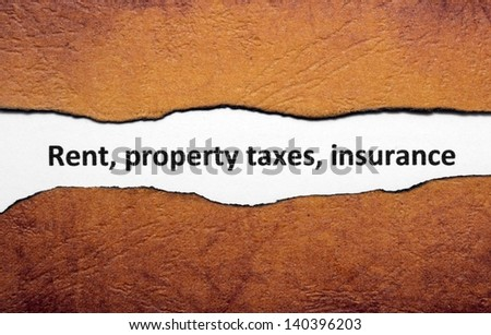 Rent property tax insurance - stock photo
