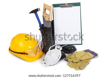 Repair accessories and clipboard on white, gentle natural shadow among objects - stock photo
