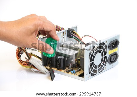 Repair Computer Power Supply on a white background. - stock photo