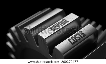 Repair Costs  on the Metal Gears on Black Background.  - stock photo