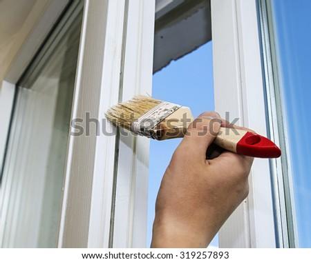 repair, dye, paint, window,  roller, hand - stock photo