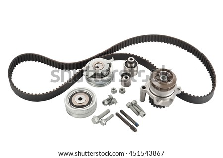 Repair kit: Timing belt with rollers, Tensioner pulley, Deflection pulley, Two rollers, Water pump and bolts isolated on white background. Automobile spare part - stock photo