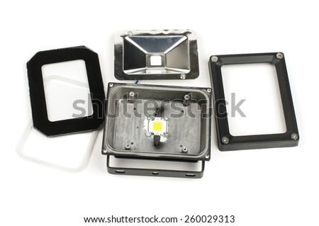 Repair of LED lamp fixture - stock photo