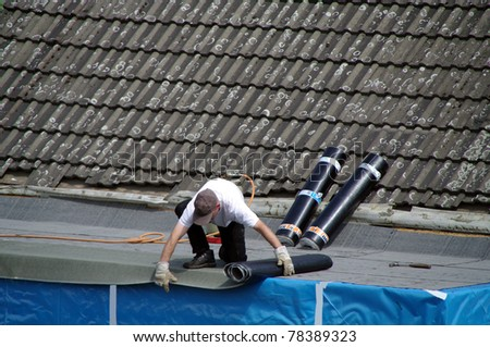 Repair on roof - stock photo
