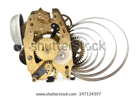 repair parts for a mechanical clock on a white background - stock photo