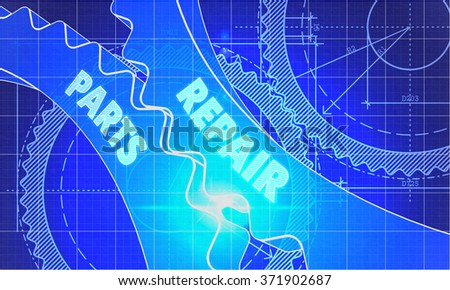 Repair Parts on the Mechanism of Cogwheels. Blueprint Style. Technical Design. Lens Flare. - stock photo