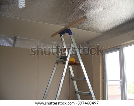 Repairing room drywall - stock photo