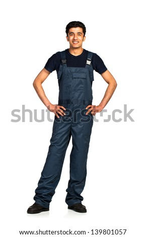 Repairman Arab nationality in the construction overalls on a white background with reflection - stock photo