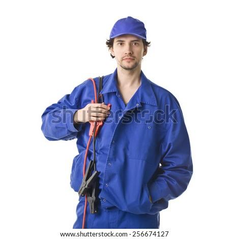 Repairman Smiling Portrait. - stock photo