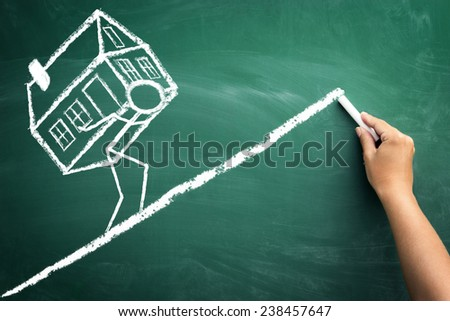Repayment of loans for house, business concept sketch - stock photo