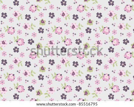 repeat pattern set in naive floral style - stock photo
