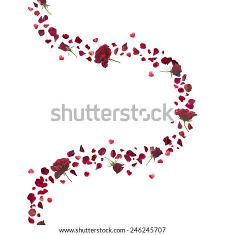 repeatable red roses and petals curve, with hovering hearts, studio photographed in depth of field and isolated on white - stock photo