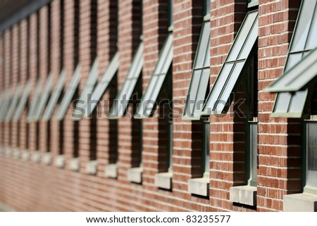 Repeating windows of the horse barns at the Illinois State Fair in Springfield, Illinois - stock photo