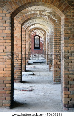 Repetitive Arches with Focus on the Furthest at Fort Jefferson - stock photo