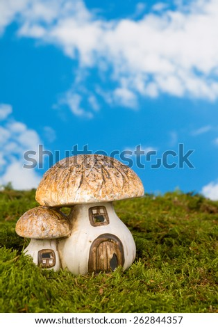 Replica fairytale toadstool as a gnome house - stock photo