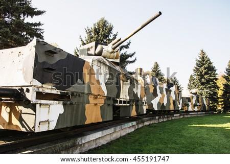 Replica of armored train Hurban now located near Zvolen castle in Zvolen city, Slovak republic. World War II memorial. Symbolic object. Theme of history. - stock photo