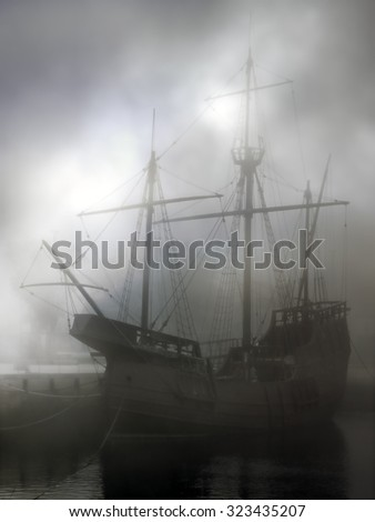 Replica of old discoveries caravel in the middle of fog. Used digital filters. - stock photo
