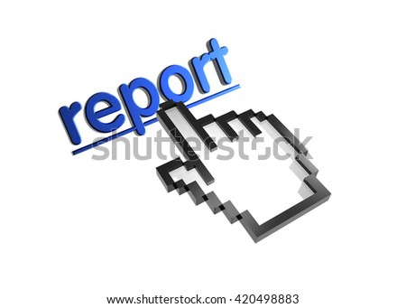report. 3d rendered inscription. Link and finger, pointer. Isolated on white - stock photo