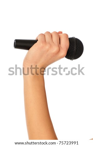 reporter holding big black microphone for interview - stock photo