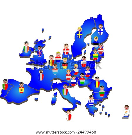 Representative people from the European Union countries dressed in their national flags placed over their country map - stock photo