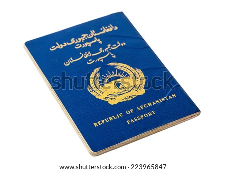 Republic of Afghanistan passport isolated on white background - stock photo