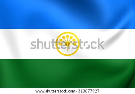Republic of Bashkortostan Flag, Russia. Close Up. - stock photo