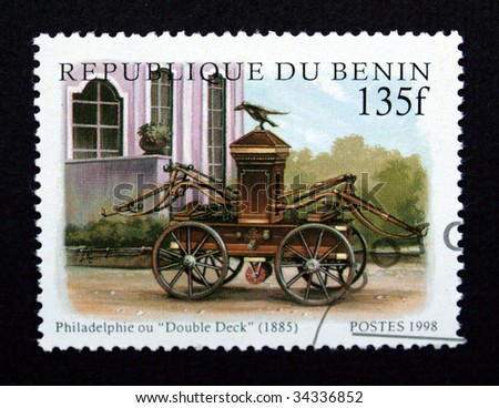 Republic of Benin postage stamp with train - stock photo