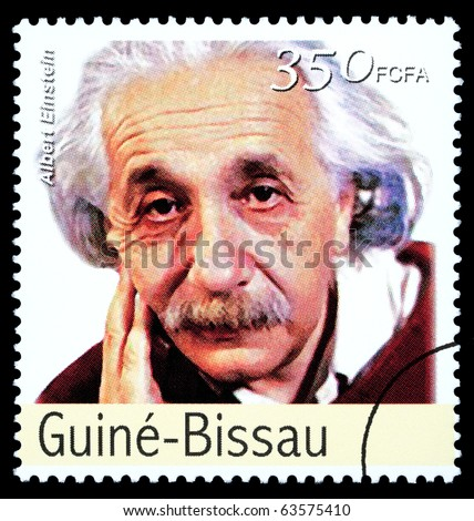 REPUBLIC OF GUINEA-BISSAU - CIRCA 2000: A postage stamp printed in the Republic of Guinea-Bissau showing Albert Einstein, circa 2000 - stock photo