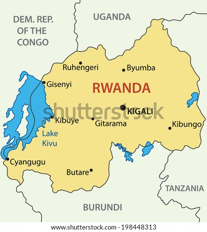 Republic of Rwanda - map - stock photo